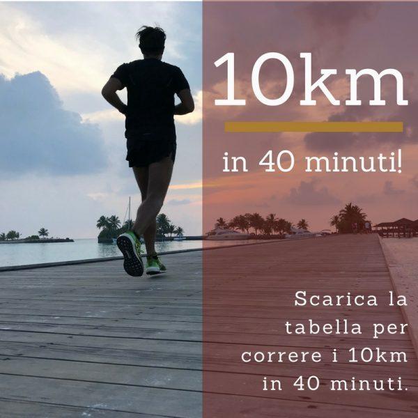 Correre i 10km in 40 minuti: Scarica la mia tabella d'allenamento